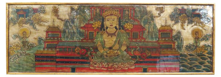 Painted Buddha Panel, Gold/Red