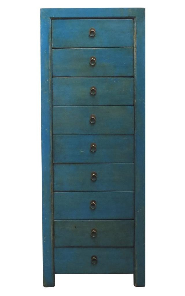 Breck 9-Drawer Tall Chest, Blue