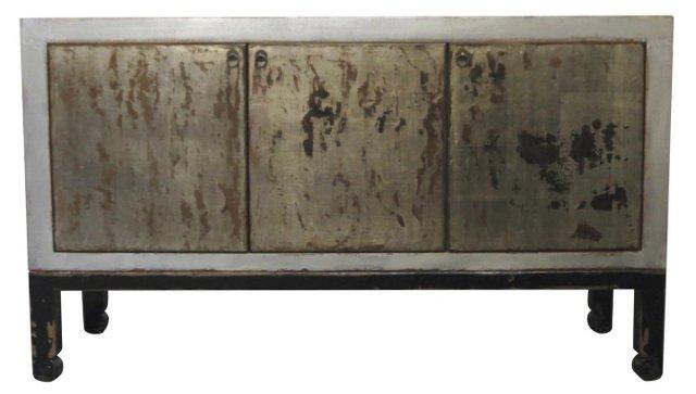 Victorine 3-Door Tall Sideboard, Silver