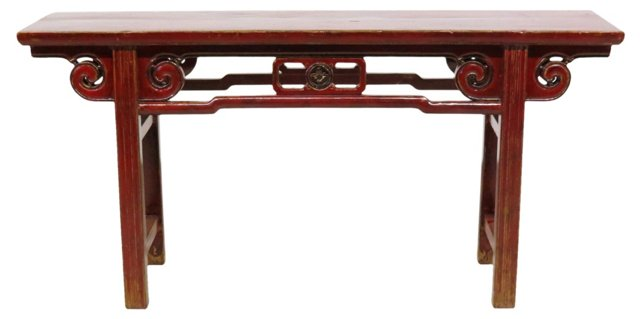 Kaiden Console Table, Red
