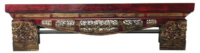 Carved Opium Bench, Red