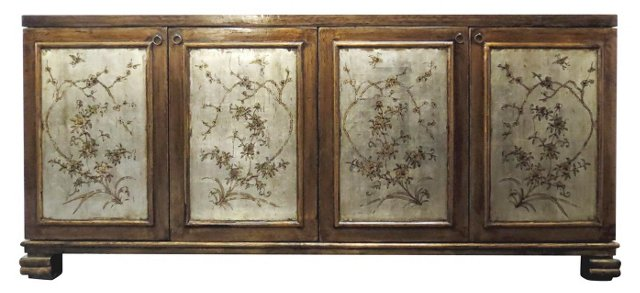 Floral Painted Sideboard, Gold/Silver