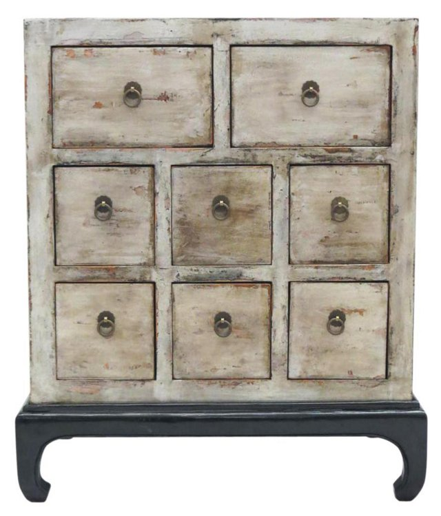 Isabella Low Cabinet, Gray/Black