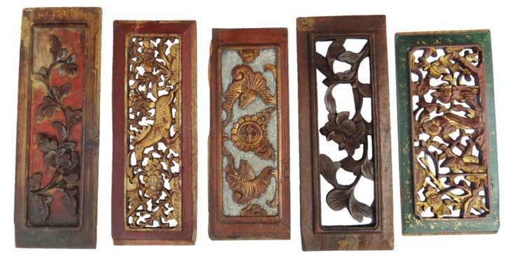 Qing Dynasty Carved Panels, Set of 5