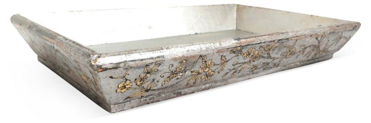 Floral Elm Wood Tray, Silver