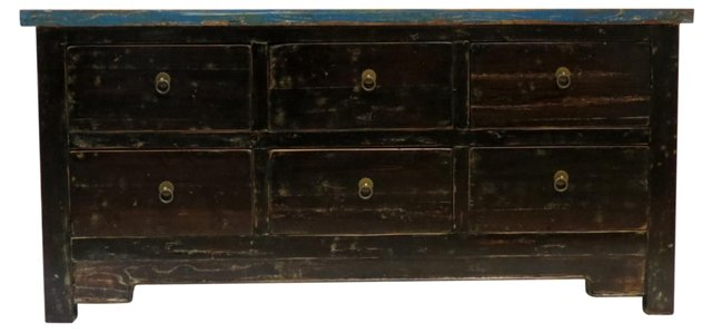 "Orlo 57"" Distressed Sideboard, Blue/Gold"