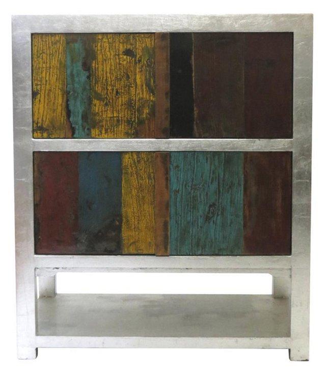 DNU,OPhyllis Tall Cabinet, Silver/Multi