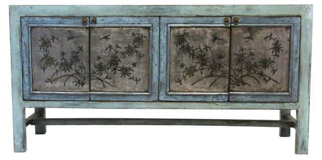 Altalune Tall Sideboard, Blue/Silver