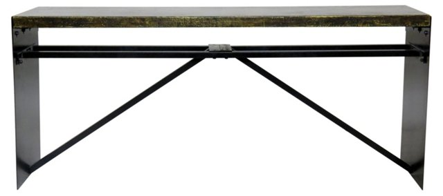 Laird Console Table, Black/Gold