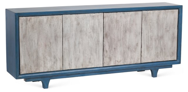 Aspen Sideboard, Pewter/Blue
