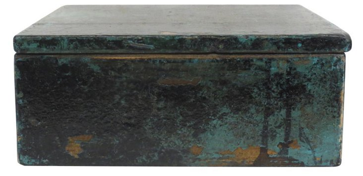 Rustic Black and Blue Jewelry Box