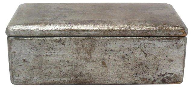 "8"" Rustic Cigar Box, Silver"