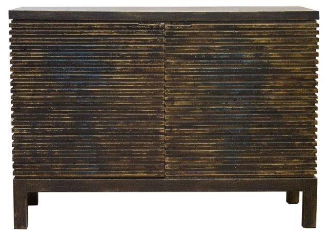 "Macy 48"" Ribbed Sideboard, Gold/Black"