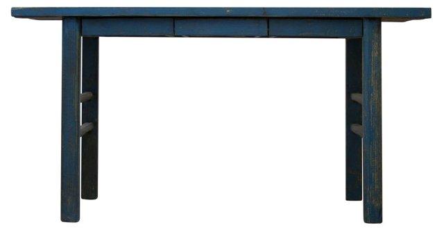 "Ezra 63"" Console Table, Blue"