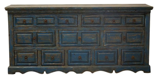 10-Drawer Tall Sideboard, Blue