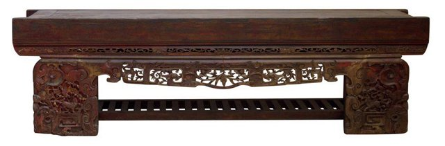 """Opium 72"""" Carved Bench, Red/Gold"""