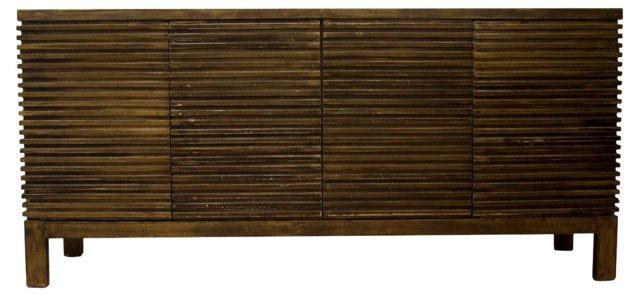 "Hansel 73"" Ribbed Sideboard, Gold"