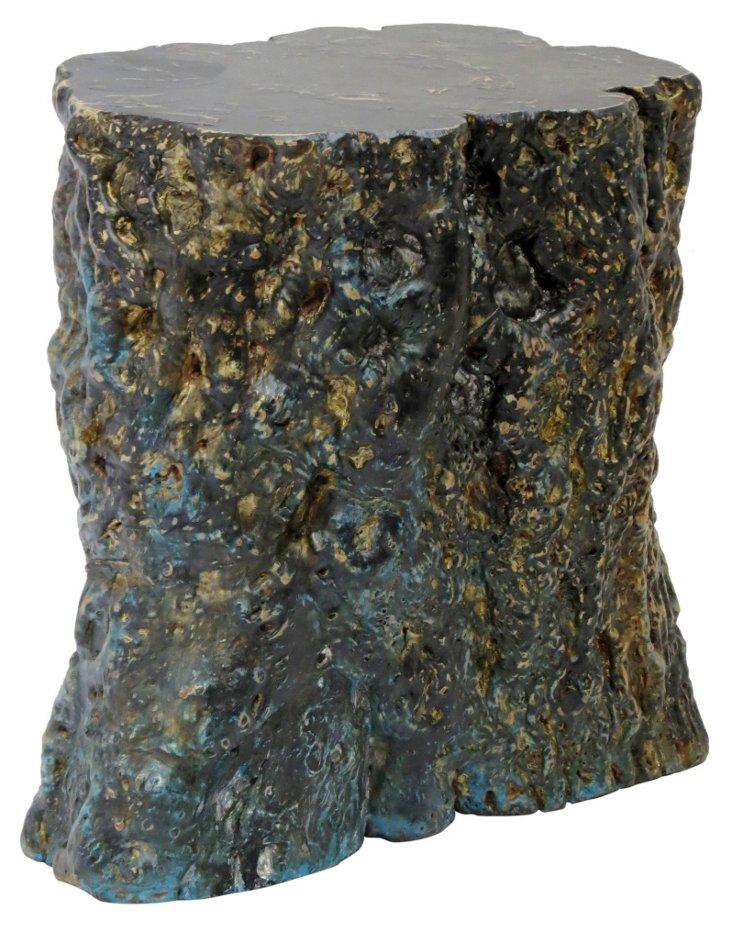 DNU,ORustic Elm Stump Stool, Blue