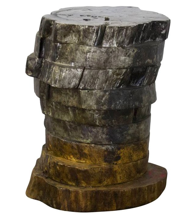 Gendry Live-Edge Side Table, Gold/Silver