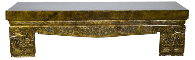 "Grantham 80"" Carved Opium Bench, Gold"