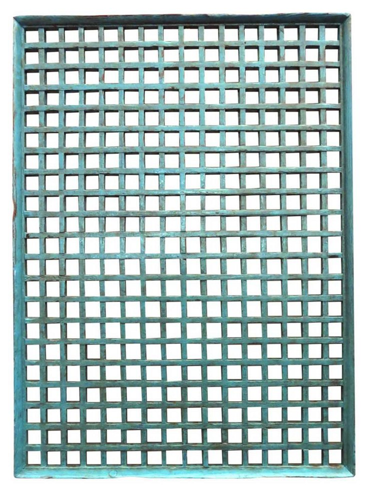 Antique Screen, Grid Blue