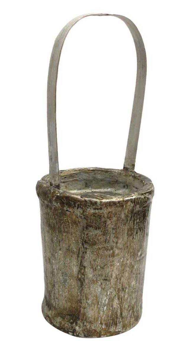 Rustic Bamboo Basket, Silver