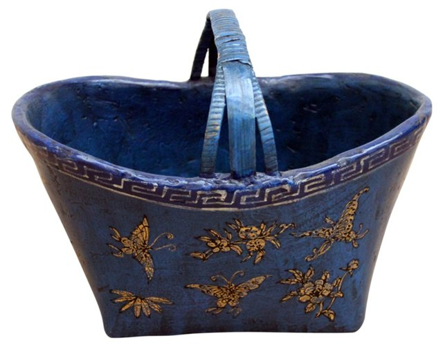 Butterfly Bamboo Durian Basket, Blue