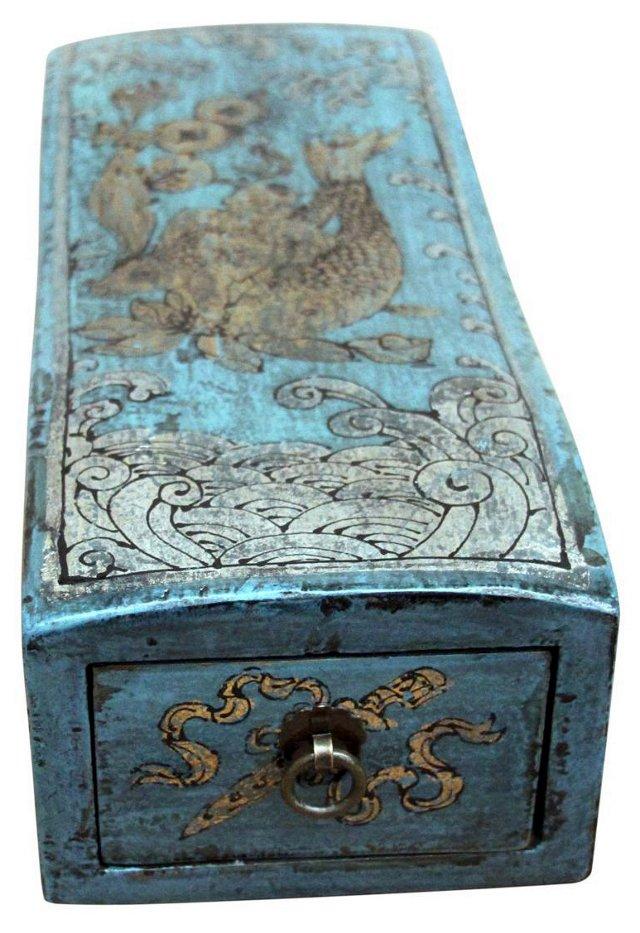 Koi Fish Elm Jewelry Box, Blue