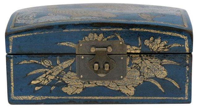 Koi Fish Elm Pillow Box, Dark Blue