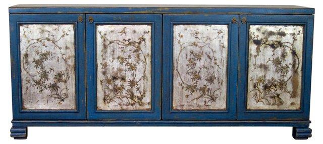 Rowena Sideboard, Blue/Silver