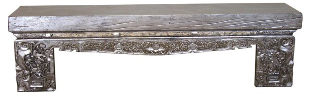 "Camilla 79"" Carved Opium Bench, Gray"