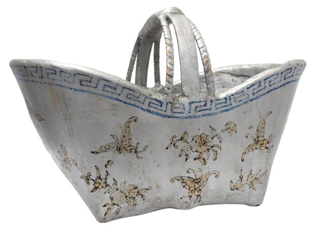 Floral Bamboo Durian Basket, Silver