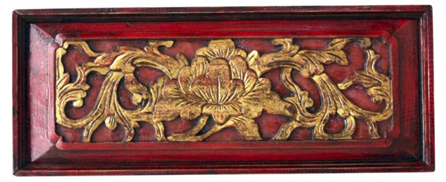 Red and Gold Carved Match Box
