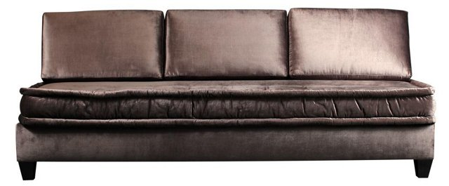 "Drake 84"" Metallic Velvet Sofa, Pewter"