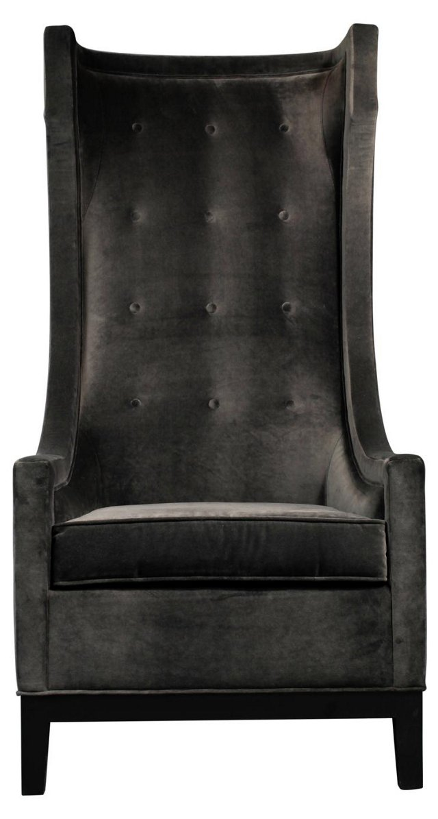 Harper Tall Velvet Wing Chair, Gray