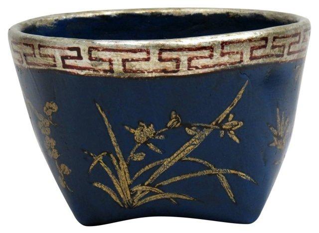 Floral Mung Bean Basket, Turquoise