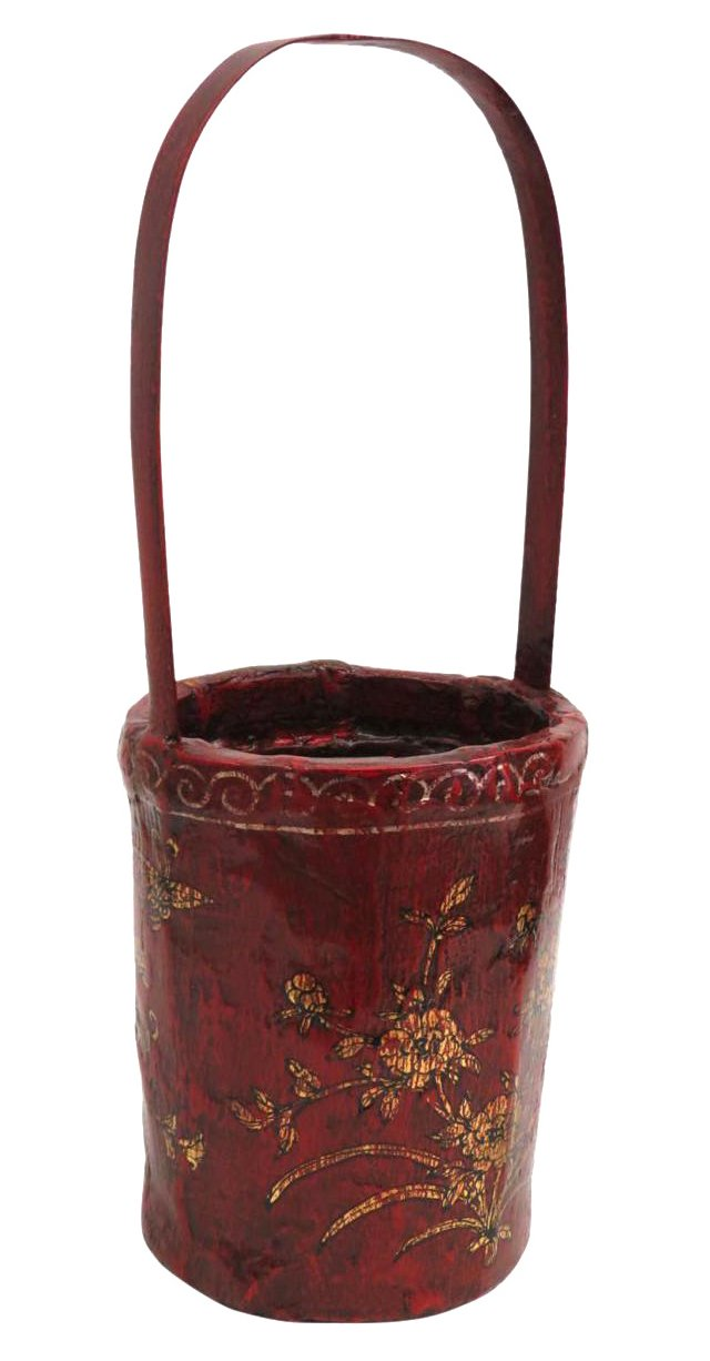 Floral Bamboo Basket, Gold/Red
