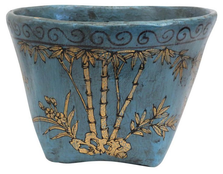 Bamboo Mung Bean Basket, Blue