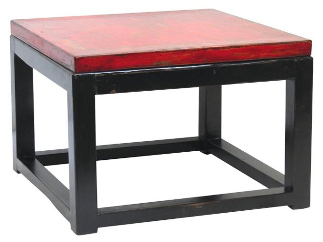 Lilith Elm Side Table, Red/Black