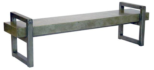 """Callister 74"""" Rustic Elm Bench II, Gray"""