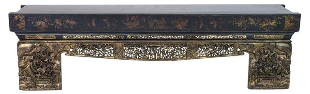 """Rahm 80"""" Carved Elm Bench, Black/Gold"""