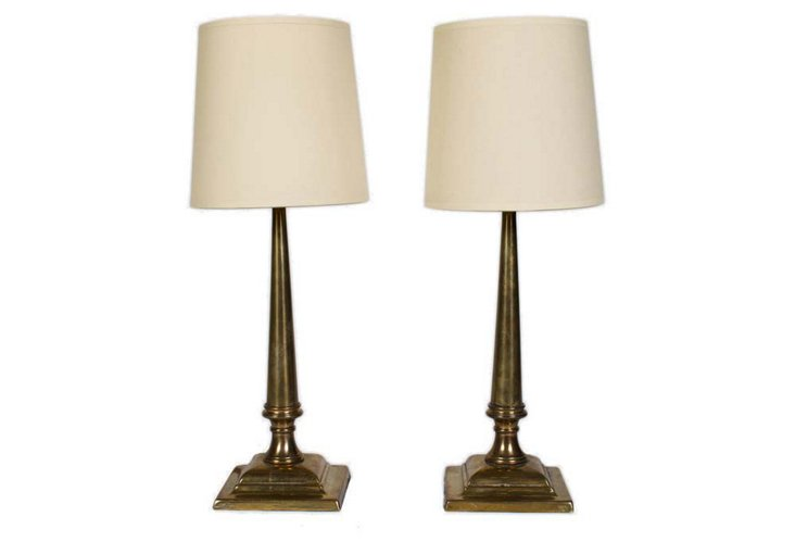 Brass Candlestick Lamps, Pair, I