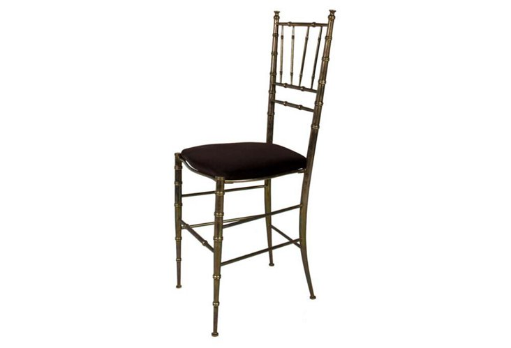 Vintage Brass Faux-Bamboo Side Chair