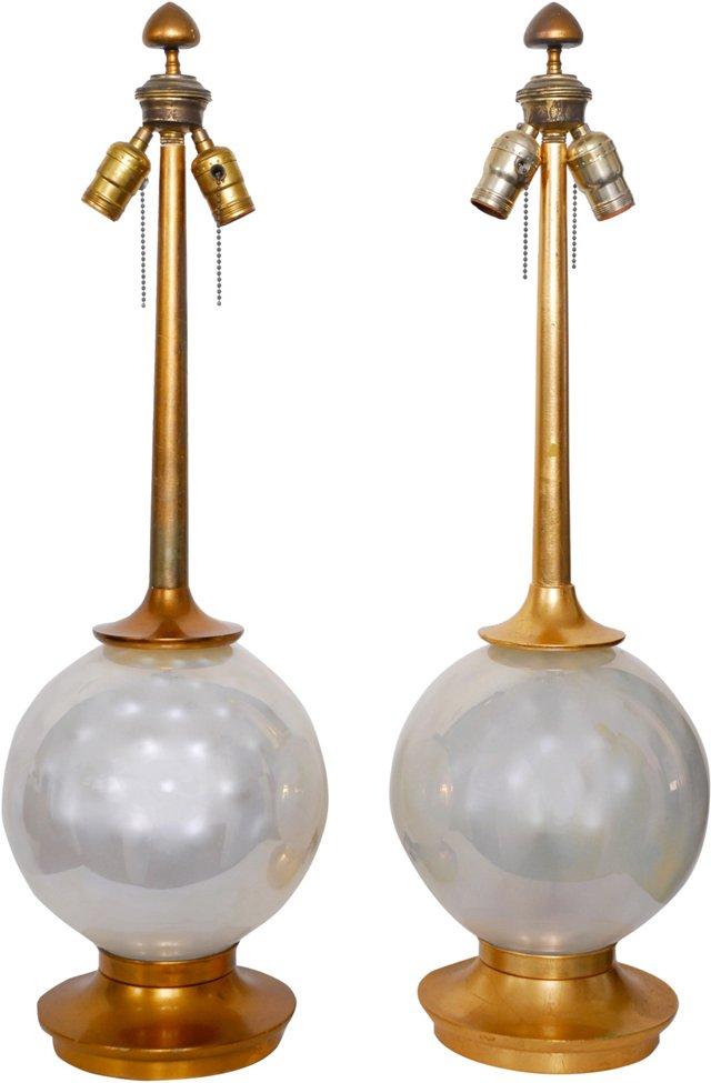 Midcentury Marbro Lamps, Pair