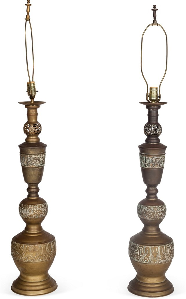 Midcentury Asian Candlestick Lamps, Pair