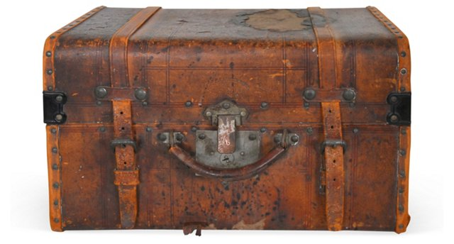 Small Antique Leather Trunk