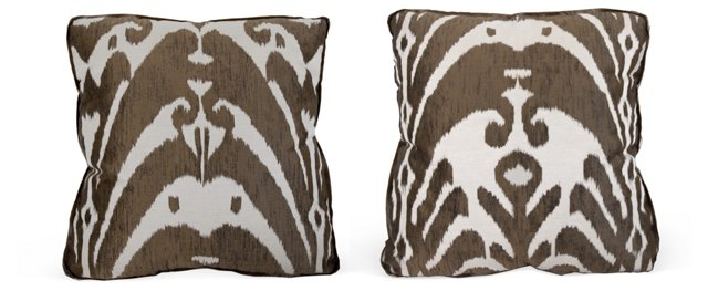 Gray & Cream Silk Ikat Pillows, Pair