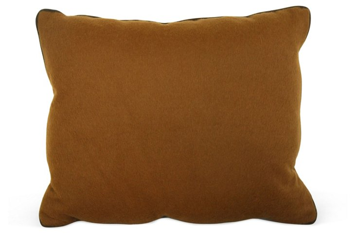 Toffee Wool Pillow w/ Brown Piping
