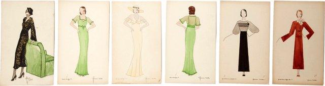 1930s Fashion Illustrations, Set of 6