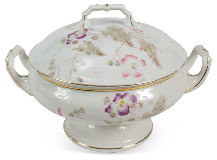 Round Porcelain Covered Serving Bowl